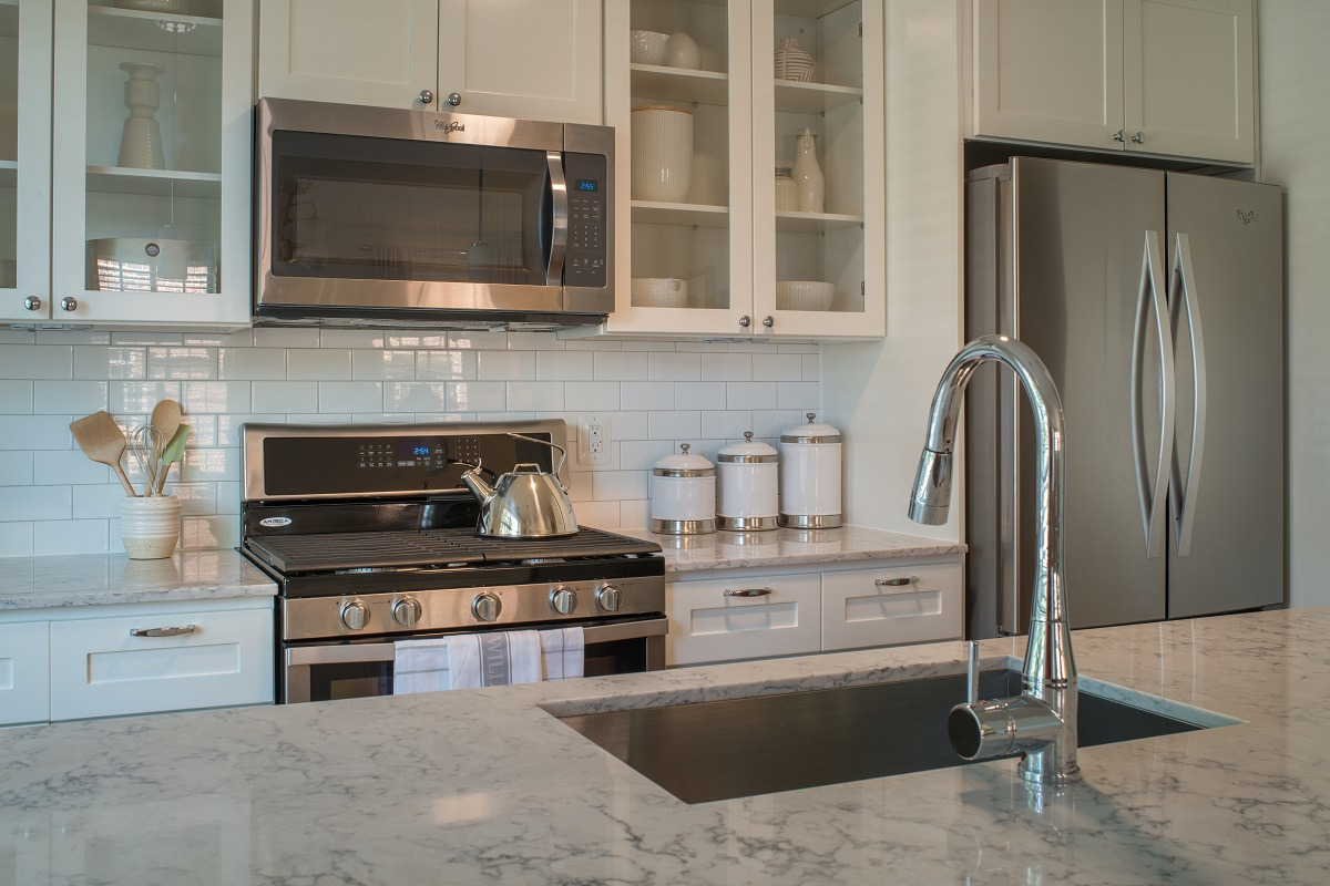 Stainless steel appliances with gas stove