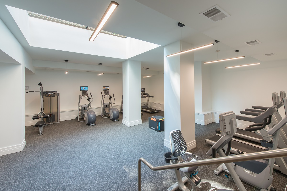 Dedicated cardio area includes all kinds of equipment