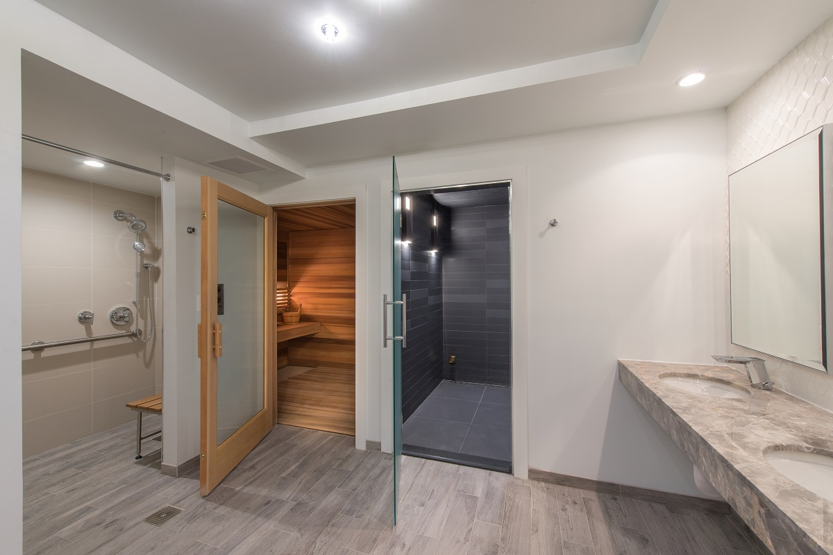 Dedicated men and women spa-inspired sauna and steam room in each locker room