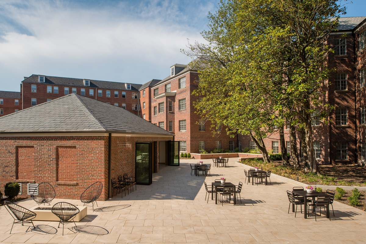 Spacious garden-lined community courtyard is an oasis